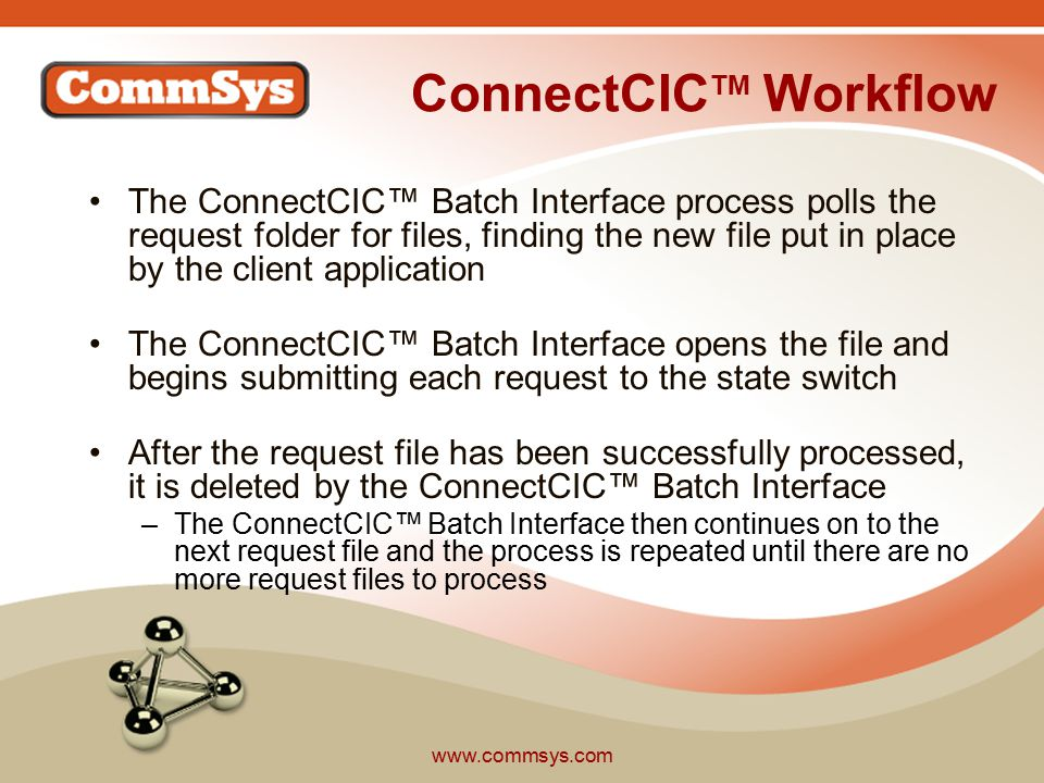 www.commsys.com ConnectCIC TM Workflow The ConnectCIC™ Batch Interface process polls the request folder for files, finding the new file put in place by the client application The ConnectCIC™ Batch Interface opens the file and begins submitting each request to the state switch After the request file has been successfully processed, it is deleted by the ConnectCIC™ Batch Interface –The ConnectCIC™ Batch Interface then continues on to the next request file and the process is repeated until there are no more request files to process
