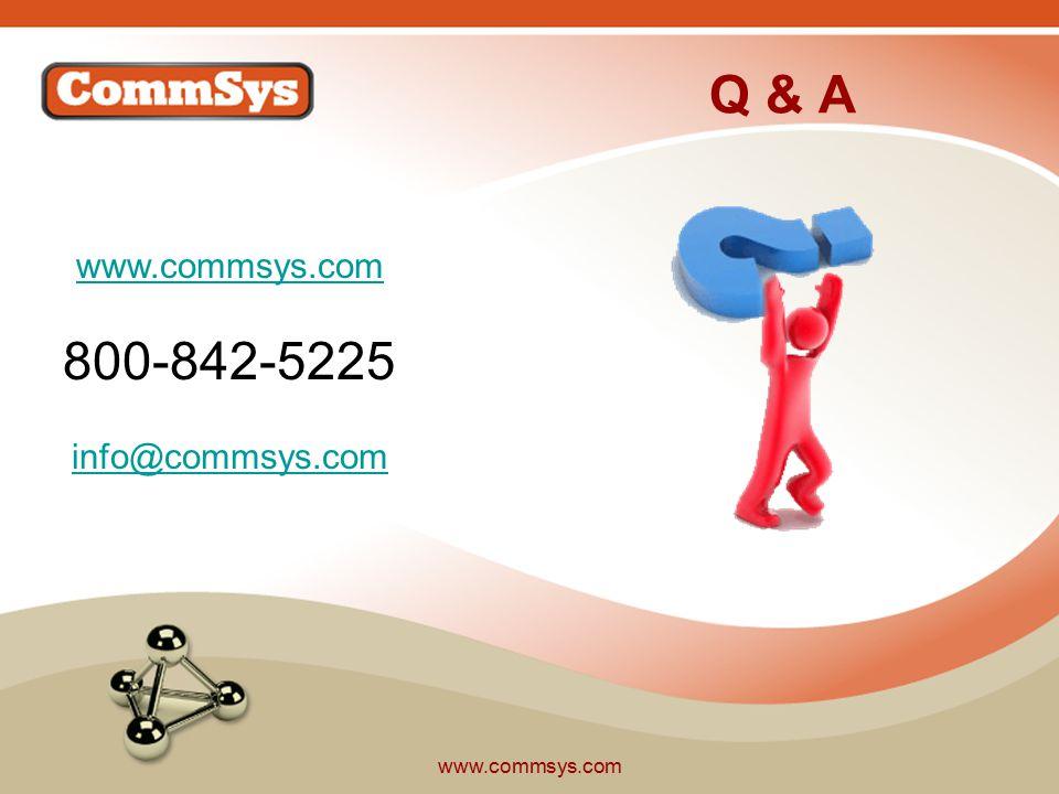 www.commsys.com Q & A www.commsys.com 800-842-5225 info@commsys.com