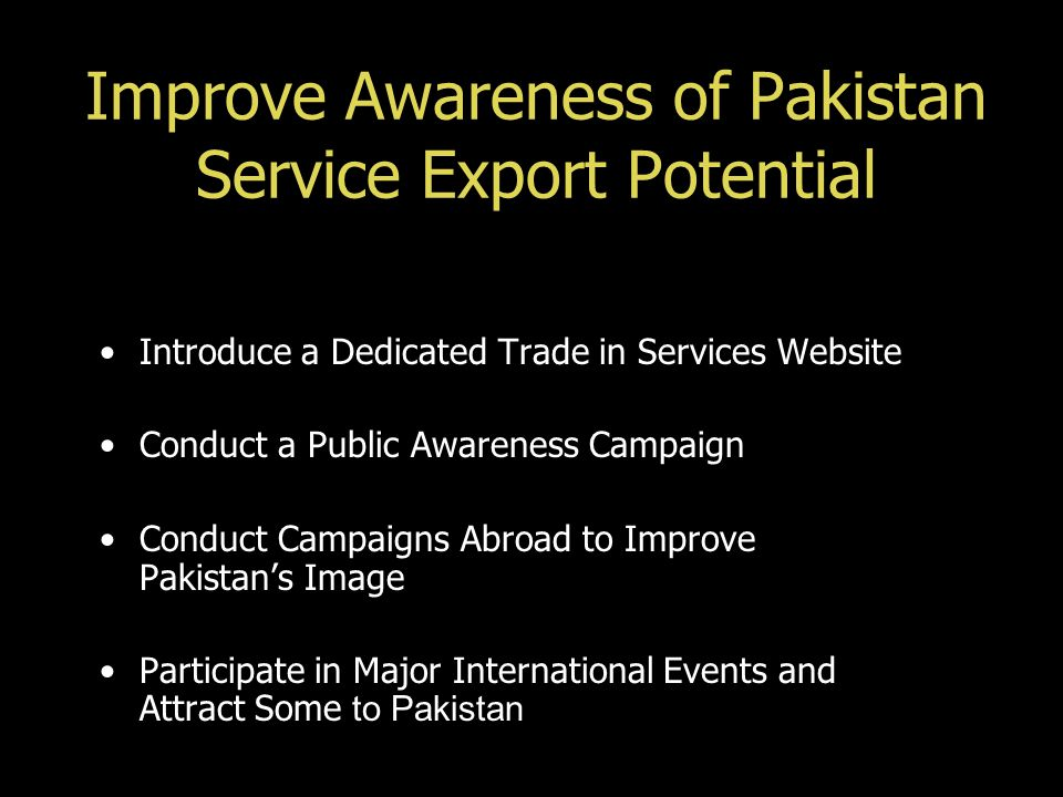 Improve Awareness of Pakistan Service Export Potential Introduce a Dedicated Trade in Services Website Conduct a Public Awareness Campaign Conduct Cam