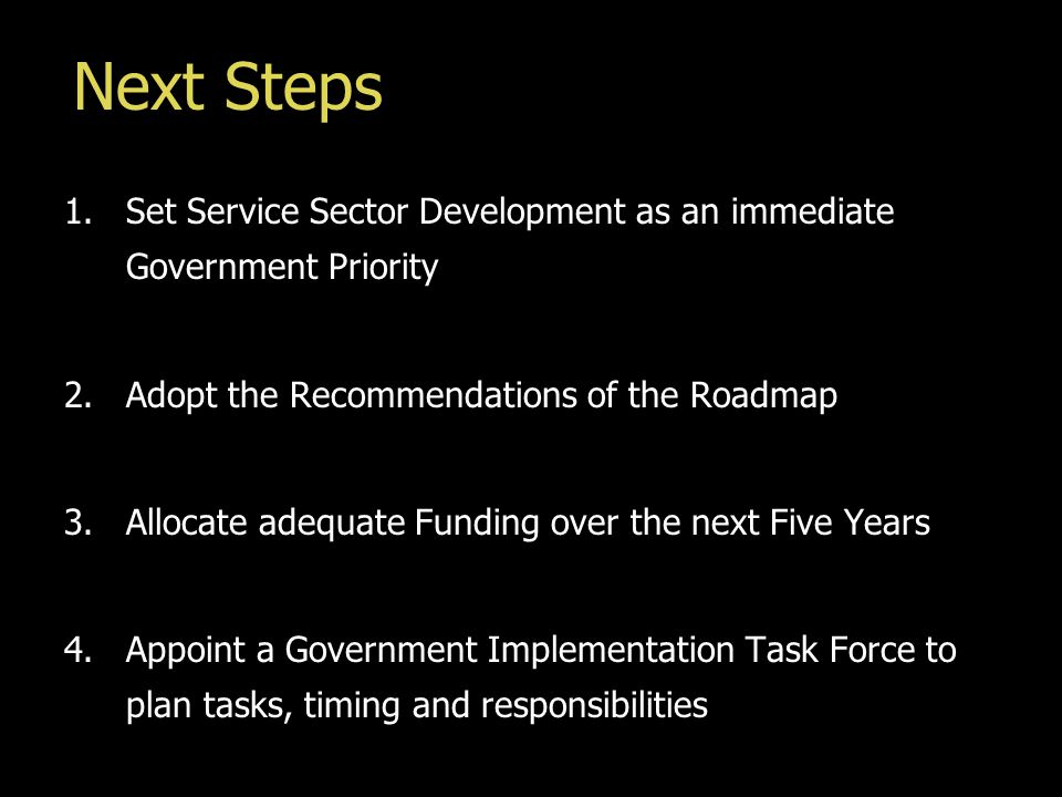 Next Steps 1.Set Service Sector Development as an immediate Government Priority 2.Adopt the Recommendations of the Roadmap 3.Allocate adequate Funding