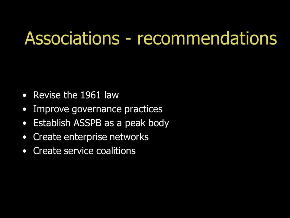 Associations - recommendations Revise the 1961 law Improve governance practices Establish ASSPB as a peak body Create enterprise networks Create service coalitions