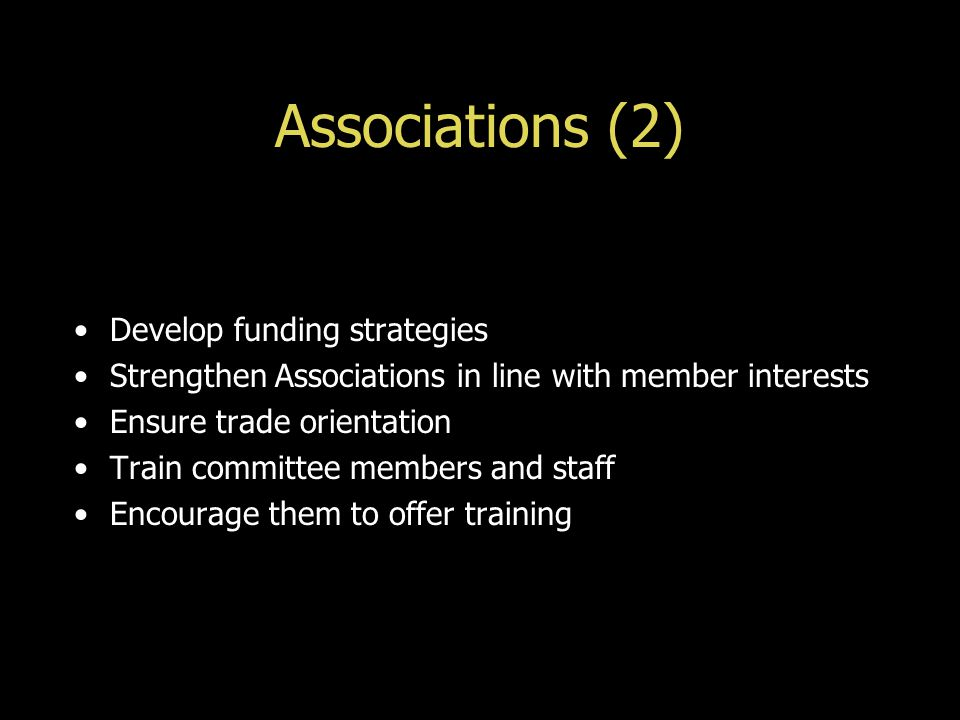 Associations (2) Develop funding strategies Strengthen Associations in line with member interests Ensure trade orientation Train committee members and