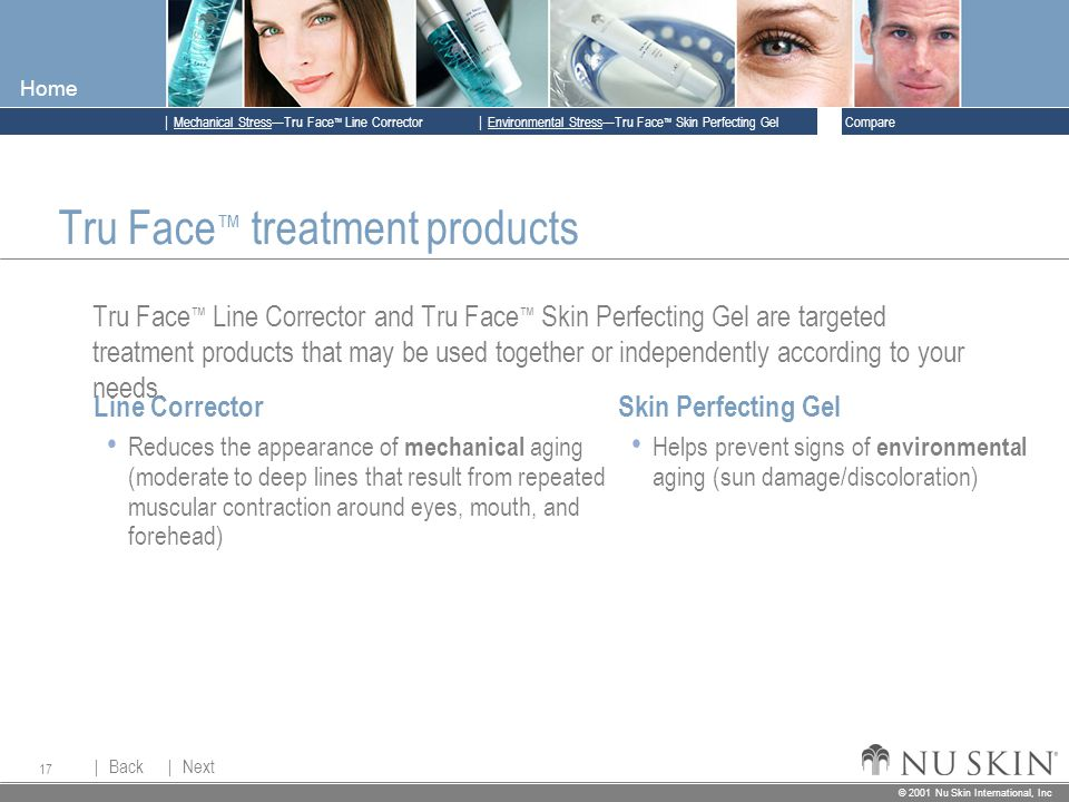 © 2001 Nu Skin International, Inc  Mechanical Stress—Tru Face ™ Line Corrector  Back Back  Next Next © 2001 Nu Skin International, Inc  Environmental Stress—Tru Face ™ Skin Perfecting Gel  Compare Home 17 Skin Perfecting Gel Helps prevent signs of environmental aging (sun damage/discoloration) Line Corrector Reduces the appearance of mechanical aging (moderate to deep lines that result from repeated muscular contraction around eyes, mouth, and forehead) Tru Face ™ treatment products Tru Face ™ Line Corrector and Tru Face ™ Skin Perfecting Gel are targeted treatment products that may be used together or independently according to your needs.