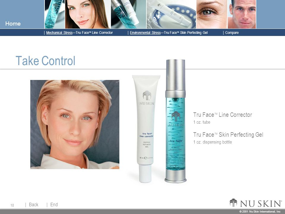 © 2001 Nu Skin International, Inc  Mechanical Stress—Tru Face ™ Line Corrector  Back Back  Next Next © 2001 Nu Skin International, Inc  Environmental Stress—Tru Face ™ Skin Perfecting Gel  Compare Home 18 Take Control Tru Face ™ Line Corrector 1 oz.