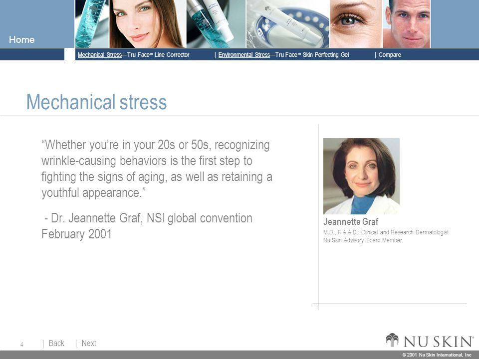© 2001 Nu Skin International, Inc  Mechanical Stress—Tru Face ™ Line Corrector  Back Back  Next Next © 2001 Nu Skin International, Inc  Environmental Stress—Tru Face ™ Skin Perfecting Gel  Compare Home 4 Jeannette Graf M.D., F.A.A.D., Clinical and Research Dermatologist Nu Skin Advisory Board Member Mechanical stress Whether you're in your 20s or 50s, recognizing wrinkle-causing behaviors is the first step to fighting the signs of aging, as well as retaining a youthful appearance. - Dr.