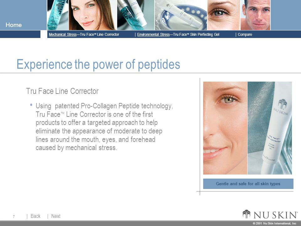 © 2001 Nu Skin International, Inc  Mechanical Stress—Tru Face ™ Line Corrector  Back Back  Next Next © 2001 Nu Skin International, Inc  Environmental Stress—Tru Face ™ Skin Perfecting Gel  Compare Home 7 Gentle and safe for all skin types Experience the power of peptides Tru Face Line Corrector Using patented Pro-Collagen Peptide technology, Tru Face ™ Line Corrector is one of the first products to offer a targeted approach to help eliminate the appearance of moderate to deep lines around the mouth, eyes, and forehead caused by mechanical stress.