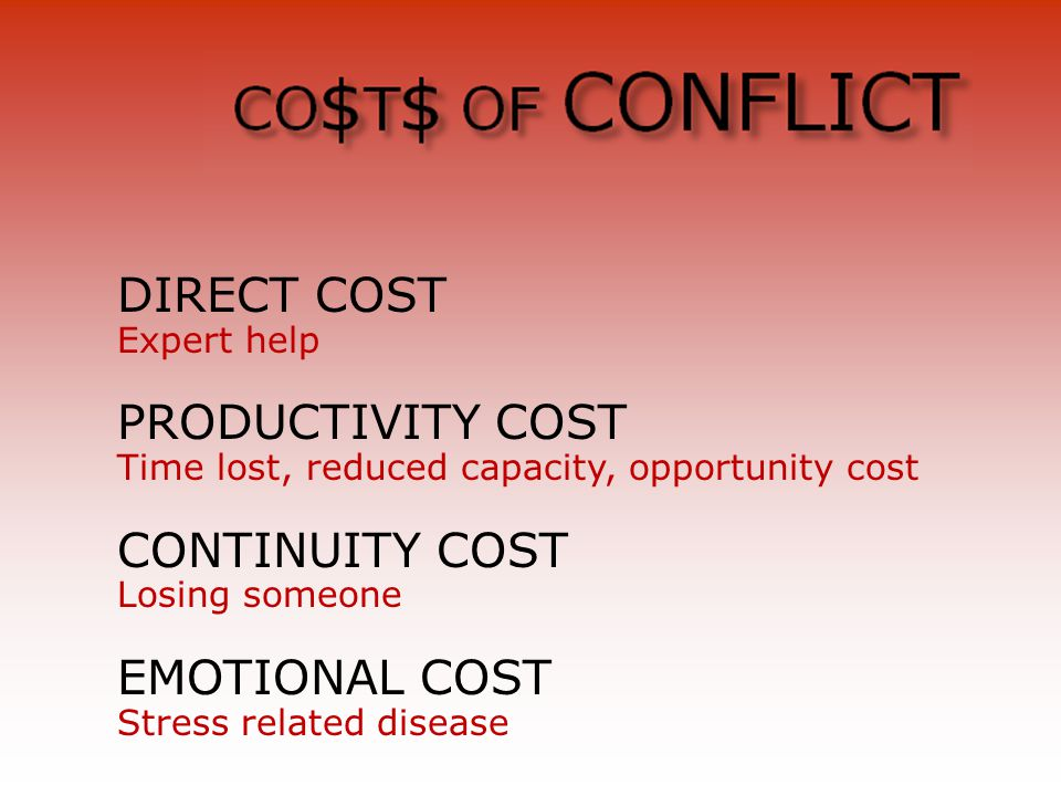 DIRECT COST Expert help PRODUCTIVITY COST Time lost, reduced capacity, opportunity cost CONTINUITY COST Losing someone EMOTIONAL COST Stress related disease