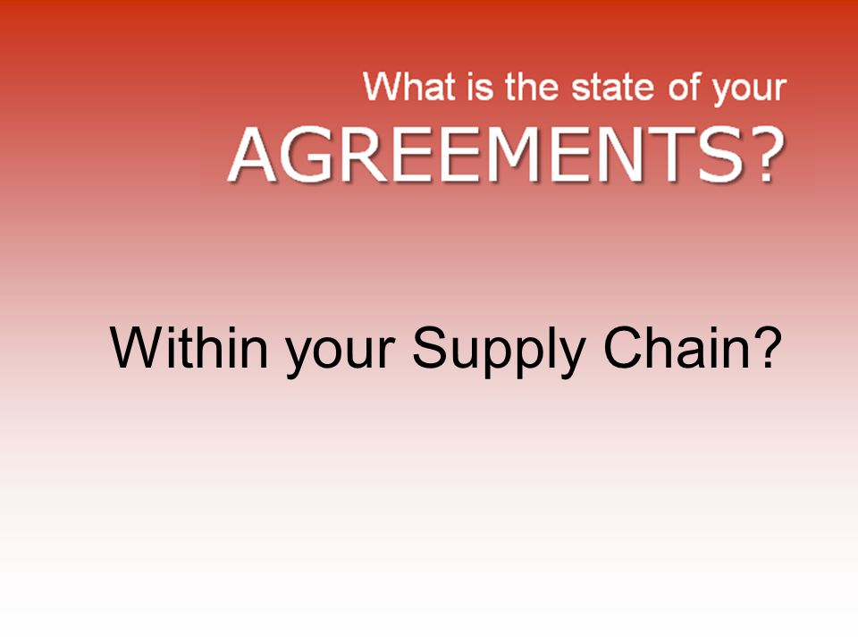 Within your Supply Chain?