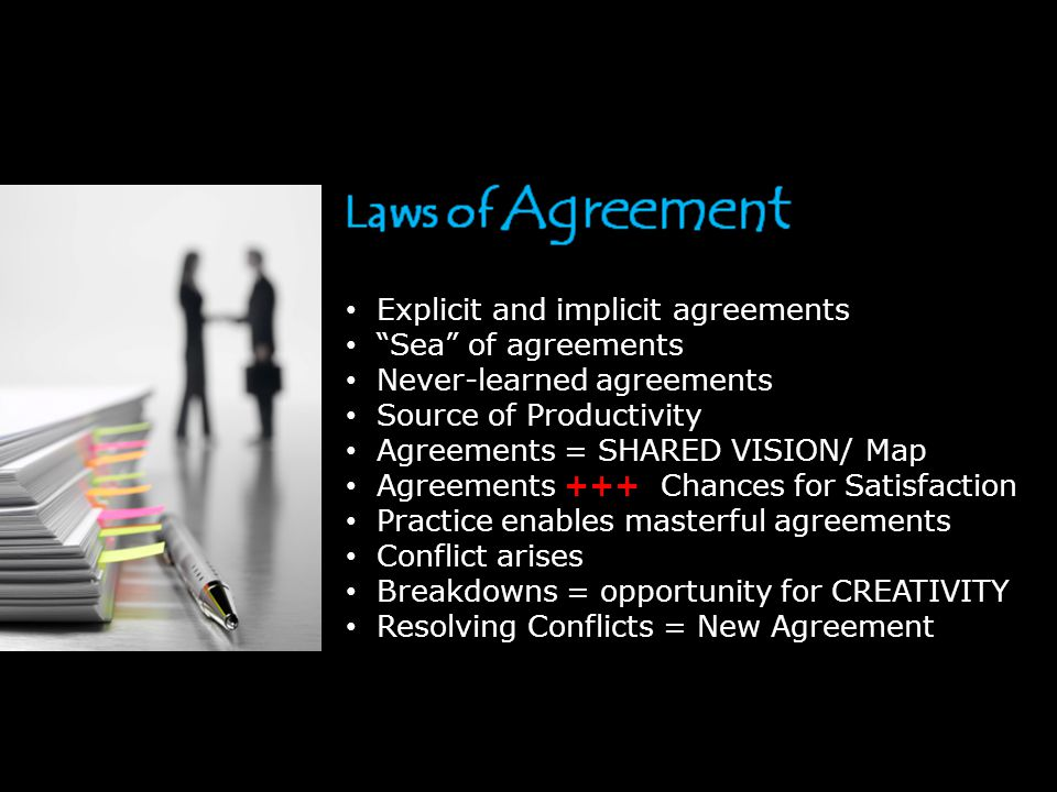 Explicit and implicit agreements Sea of agreements Never-learned agreements Source of Productivity Agreements = SHARED VISION/ Map Agreements +++ Chances for Satisfaction Practice enables masterful agreements Conflict arises Breakdowns = opportunity for CREATIVITY Resolving Conflicts = New Agreement