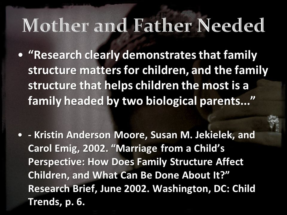 Research clearly demonstrates that family structure matters for children, and the family structure that helps children the most is a family headed by two biological parents... Research clearly demonstrates that family structure matters for children, and the family structure that helps children the most is a family headed by two biological parents... - Kristin Anderson Moore, Susan M.