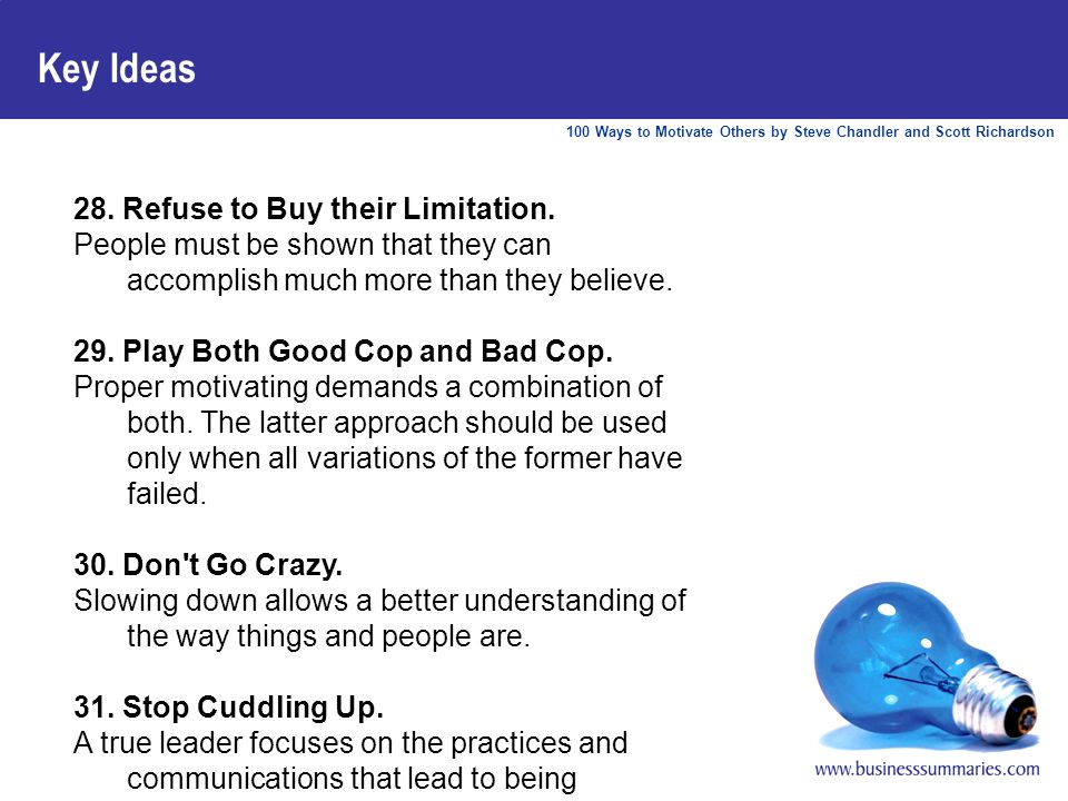 100 Ways to Motivate Others by Steve Chandler and Scott Richardson Key Ideas 28.