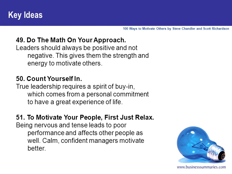 100 Ways to Motivate Others by Steve Chandler and Scott Richardson Key Ideas 49.