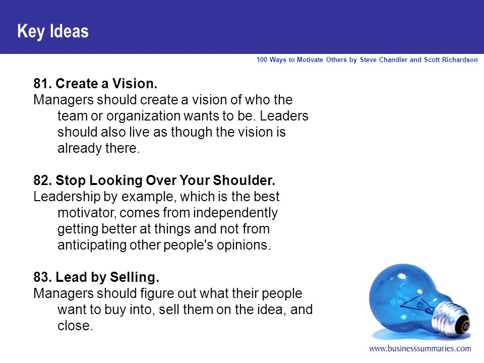 100 Ways to Motivate Others by Steve Chandler and Scott Richardson Key Ideas 81.