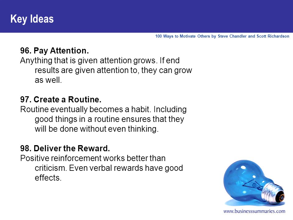 100 Ways to Motivate Others by Steve Chandler and Scott Richardson Key Ideas 96.