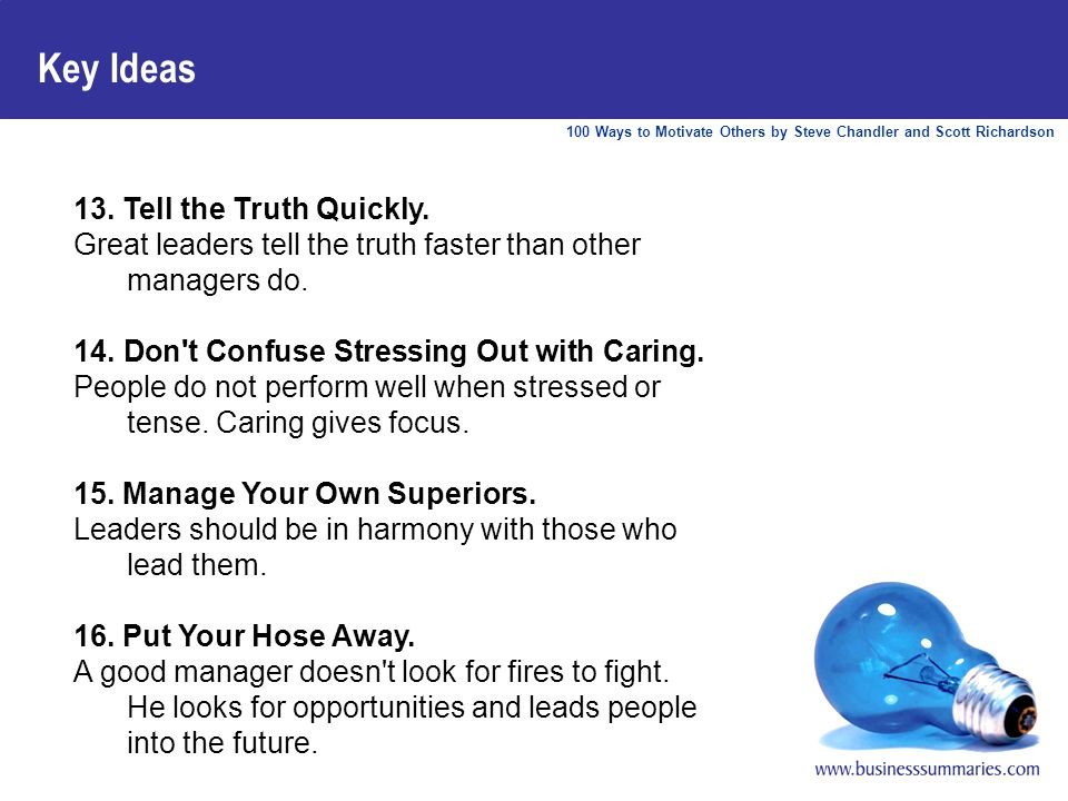 100 Ways to Motivate Others by Steve Chandler and Scott Richardson Key Ideas 13.