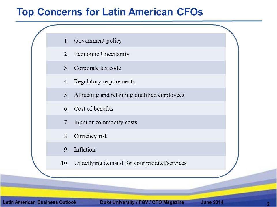 Top Concerns for Latin American CFOs Latin American Business Outlook Duke University / FGV / CFO Magazine June 2014 2 1.Government policy 2.Economic U