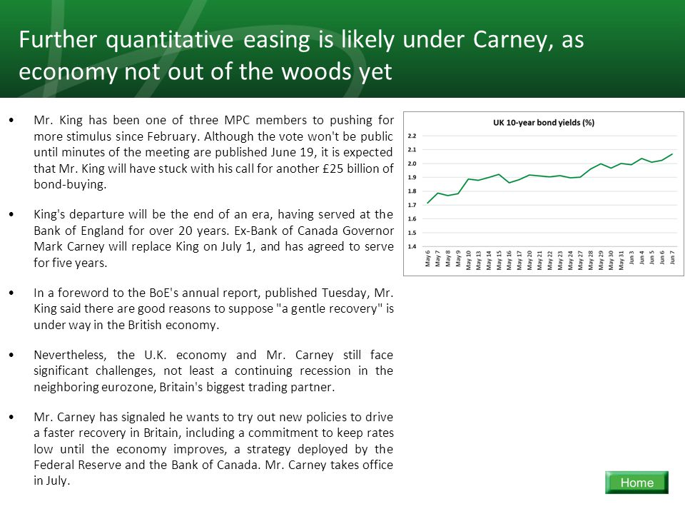 15 Further quantitative easing is likely under Carney, as economy not out of the woods yet Mr. King has been one of three MPC members to pushing for m
