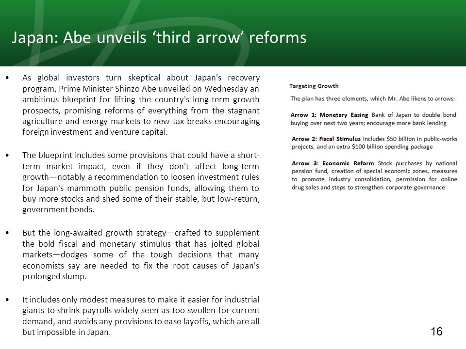 16 Japan: Abe unveils 'third arrow' reforms As global investors turn skeptical about Japan s recovery program, Prime Minister Shinzo Abe unveiled on Wednesday an ambitious blueprint for lifting the country s long-term growth prospects, promising reforms of everything from the stagnant agriculture and energy markets to new tax breaks encouraging foreign investment and venture capital.