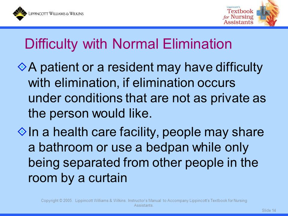 Slide 14 Copyright © 2005. Lippincott Williams & Wilkins. Instructor's Manual to Accompany Lippincott's Textbook for Nursing Assistants. A patient or