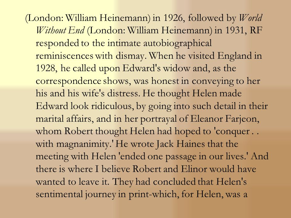 England or anywhere else in the world I think was with Edward Thomas. Robert helped release the pent-up flood of poetry in his friend, and sought ways to have his verse recognized in America.