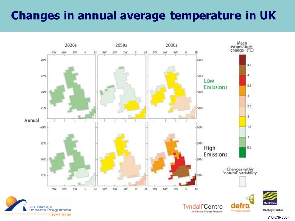© UKCIP 2007 © UKCIP 2006 Changes in annual average temperature in UK