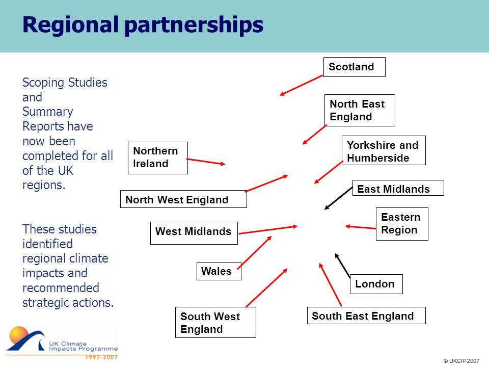 © UKCIP 2007 © UKCIP 2006 Scotland East Midlands Eastern Region South West England North East England London South East England Wales West Midlands North West England Northern Ireland Regional partnerships Yorkshire and Humberside Scoping Studies and Summary Reports have now been completed for all of the UK regions.
