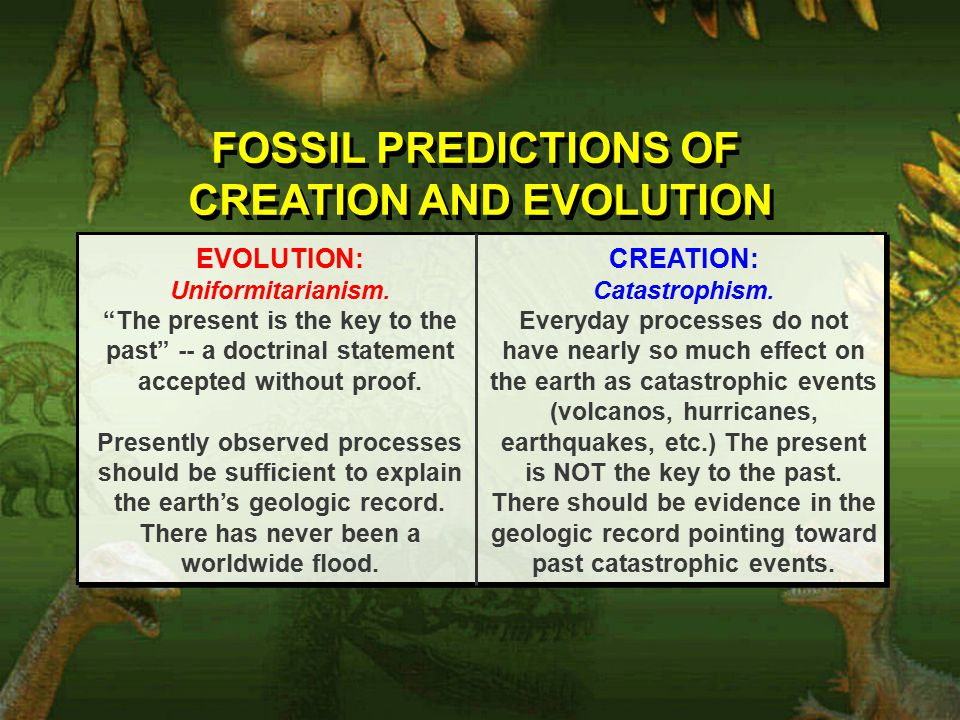FOSSIL PREDICTIONS OF CREATION AND EVOLUTION FOSSIL PREDICTIONS OF CREATION AND EVOLUTION EVOLUTION: Uniformitarianism.
