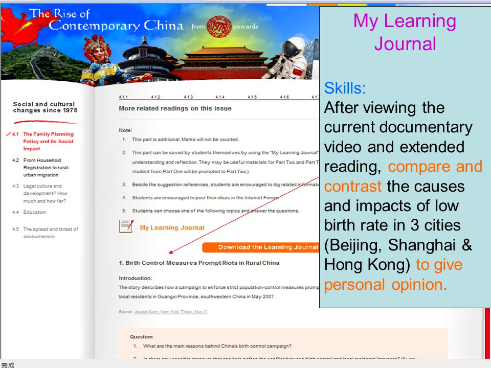 20 My Learning Journal Skills: After viewing the current documentary video and extended reading, compare and contrast the causes and impacts of low birth rate in 3 cities (Beijing, Shanghai & Hong Kong) to give personal opinion.