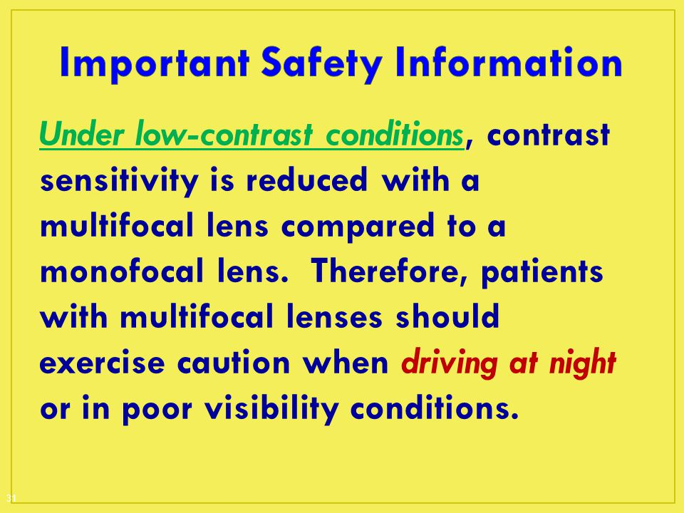 Under low-contrast conditions, contrast sensitivity is reduced with a multifocal lens compared to a monofocal lens. Therefore, patients with multifoca