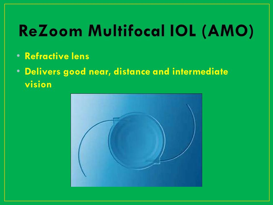 Refractive lens Delivers good near, distance and intermediate vision