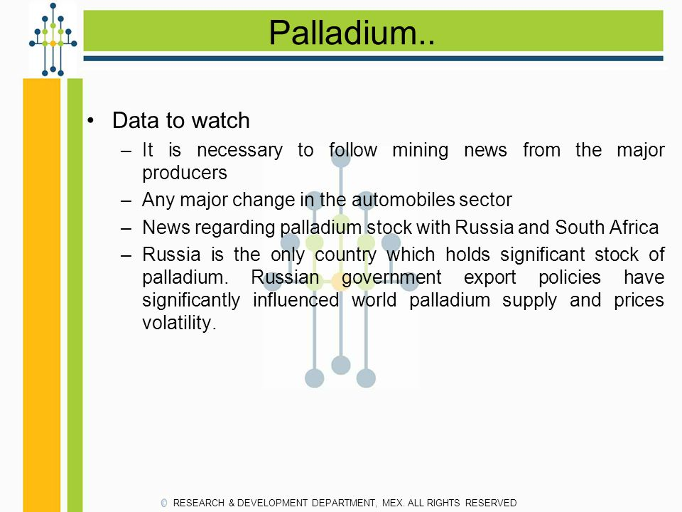 Palladium.. Data to watch –It is necessary to follow mining news from the major producers –Any major change in the automobiles sector –News regarding