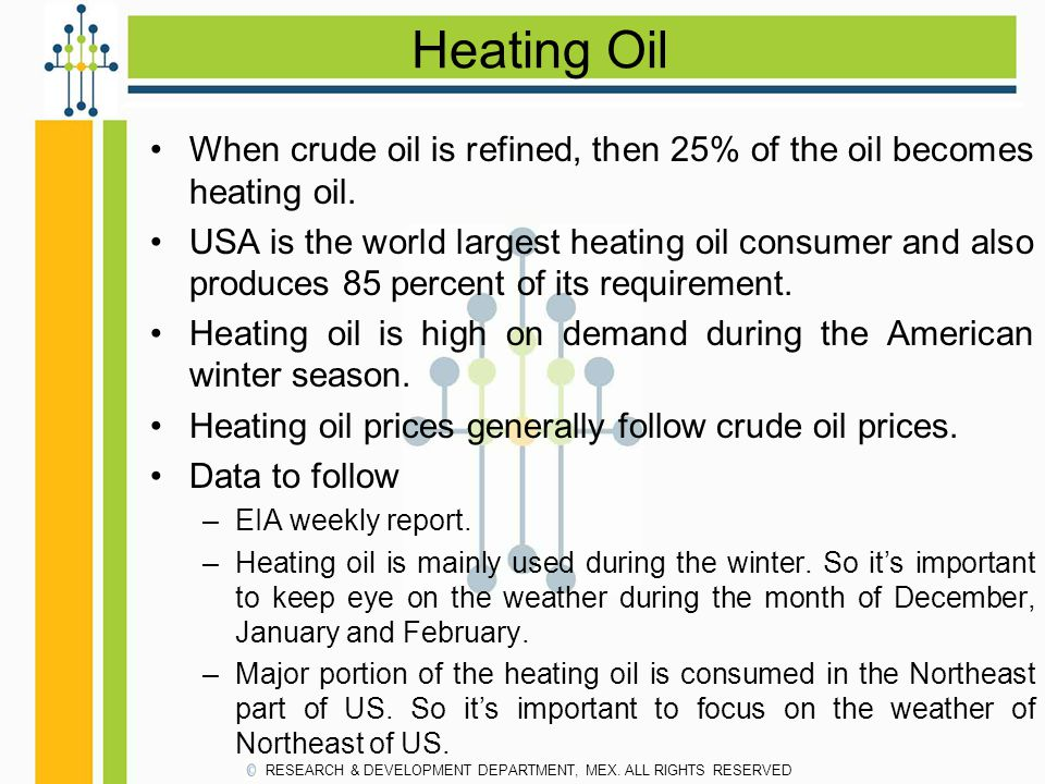 Heating Oil When crude oil is refined, then 25% of the oil becomes heating oil. USA is the world largest heating oil consumer and also produces 85 per