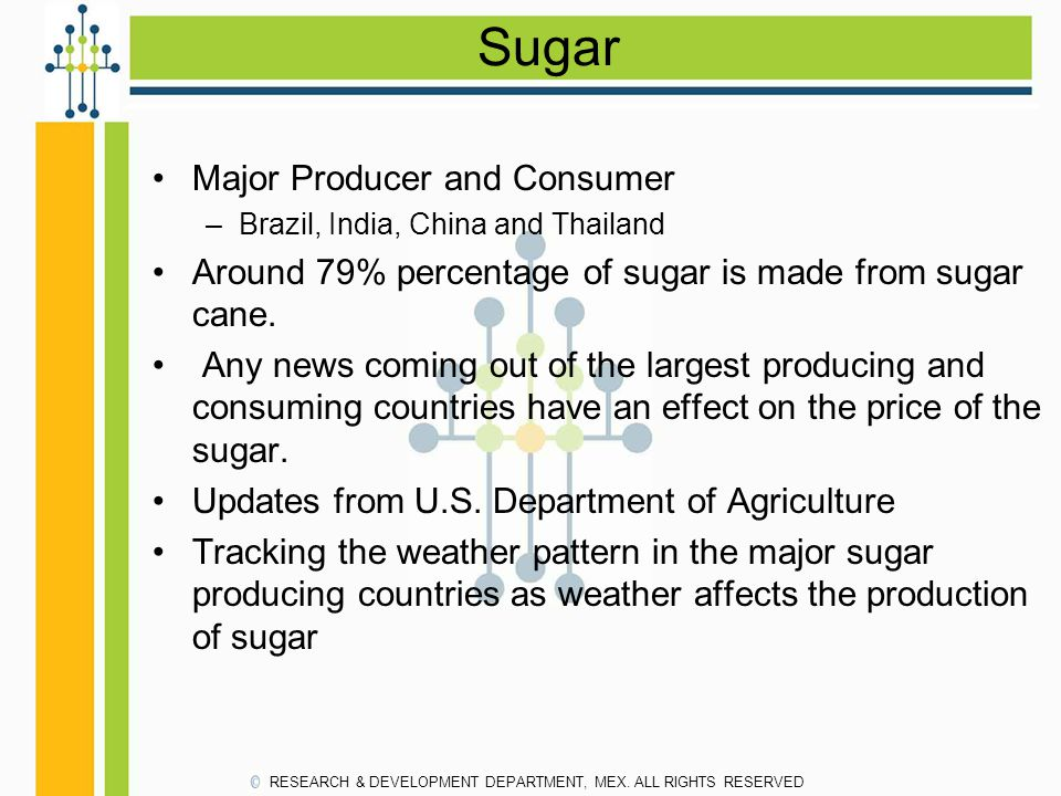 Sugar Major Producer and Consumer –Brazil, India, China and Thailand Around 79% percentage of sugar is made from sugar cane. Any news coming out of th