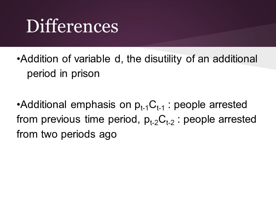 Differences Addition of variable d, the disutility of an additional period in prison Additional emphasis on p t-1 C t-1 : people arrested from previou