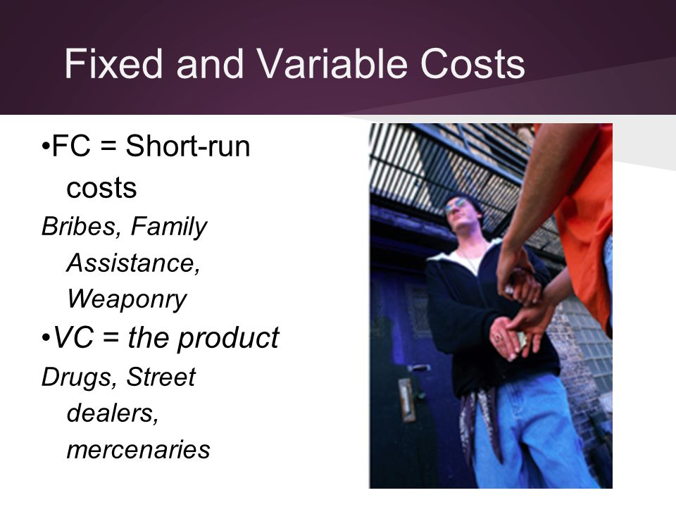 Fixed and Variable Costs FC = Short-run costs Bribes, Family Assistance, Weaponry VC = the product Drugs, Street dealers, mercenaries