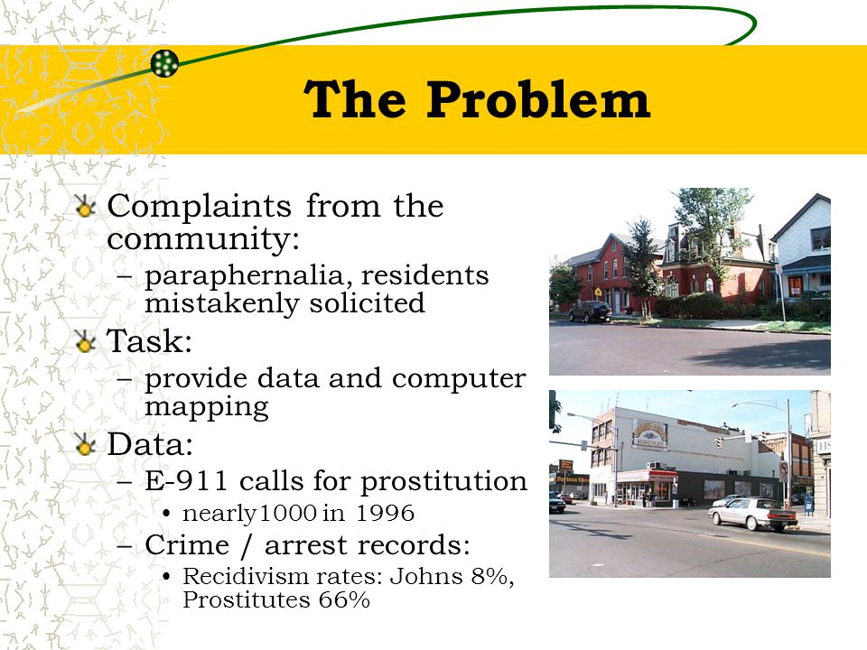 The Problem Complaints from the community: –paraphernalia, residents mistakenly solicited Task: –provide data and computer mapping Data: –E-911 calls for prostitution nearly1000 in 1996 –Crime / arrest records: Recidivism rates: Johns 8%, Prostitutes 66%