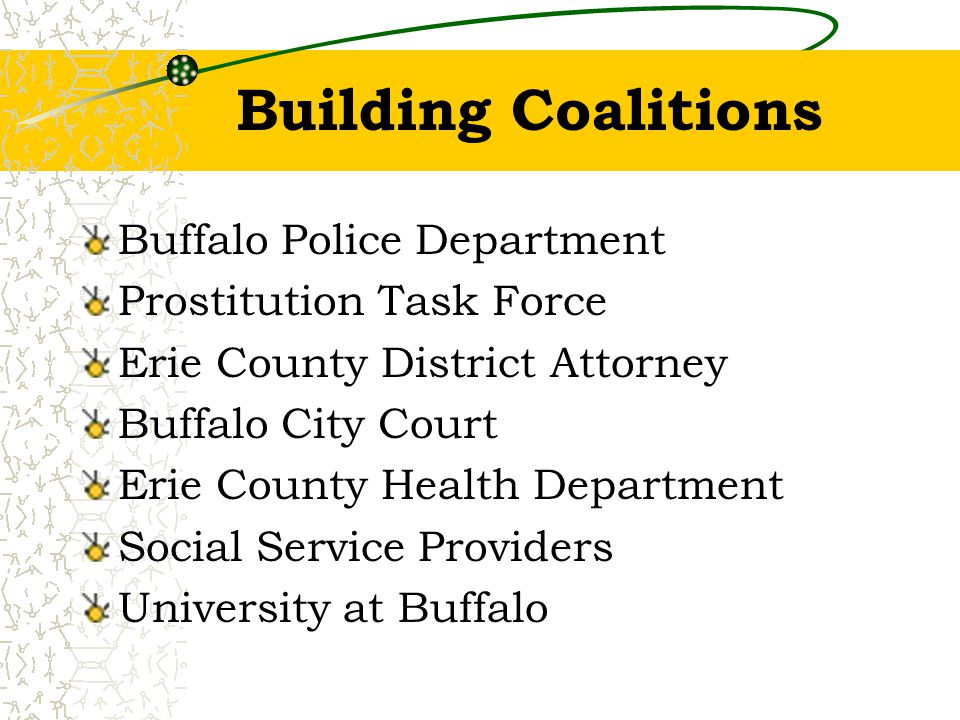 Building Coalitions Buffalo Police Department Prostitution Task Force Erie County District Attorney Buffalo City Court Erie County Health Department Social Service Providers University at Buffalo