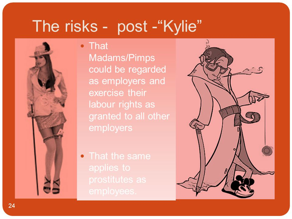 The risks - post - Kylie 24 That Madams/Pimps could be regarded as employers and exercise their labour rights as granted to all other employers That the same applies to prostitutes as employees.