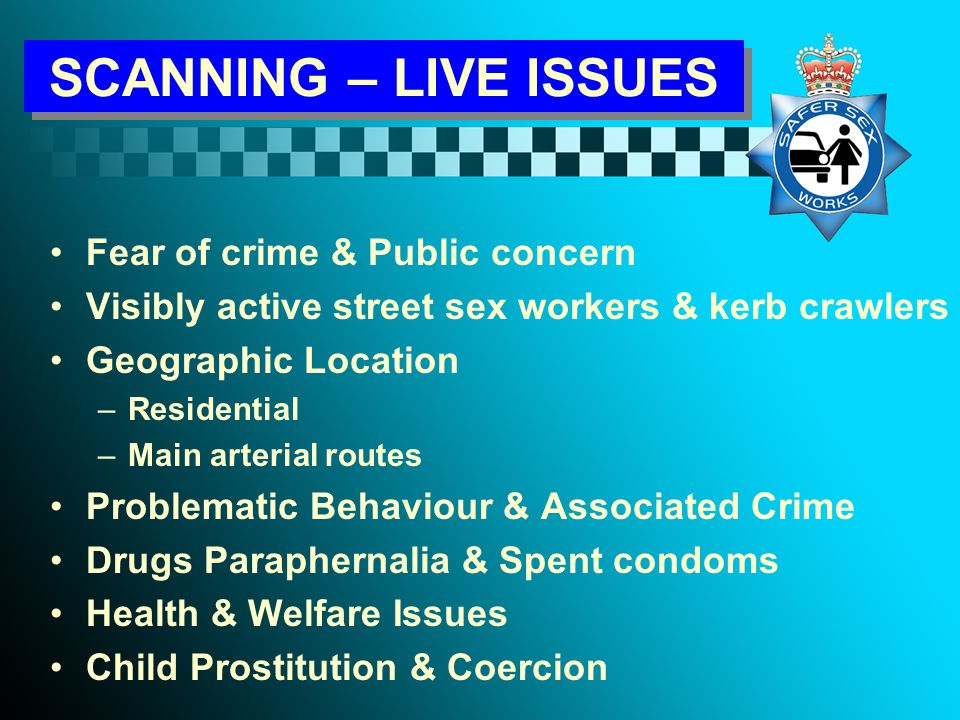 RESPONSE STREET SEX WORKERS Defining & Prioritising Problematic Behaviour Criminal Activity Theft Assault Blackmail Drugs Offensive Behaviour Age Clothing Vulnerability Coercion Residential Area Inappropriate Gestures Demeanour Main Arterial Routes Proactive Soliciting Time of Day Venue for Sex Sensitive Locations Discarded Condoms
