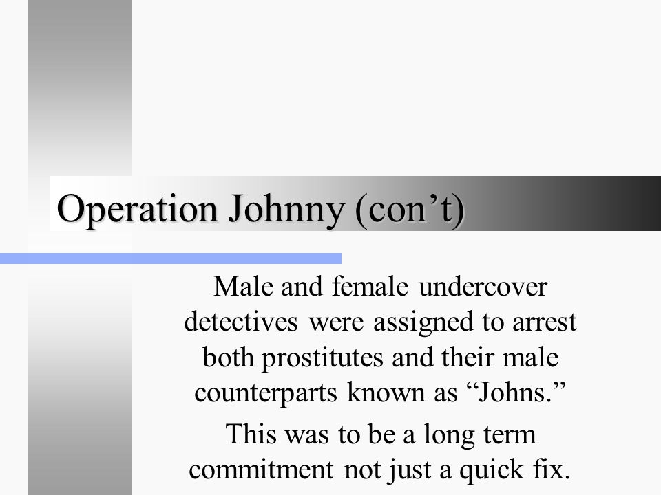 """Operation Johnny (con't) Male and female undercover detectives were assigned to arrest both prostitutes and their male counterparts known as """"Johns."""""""
