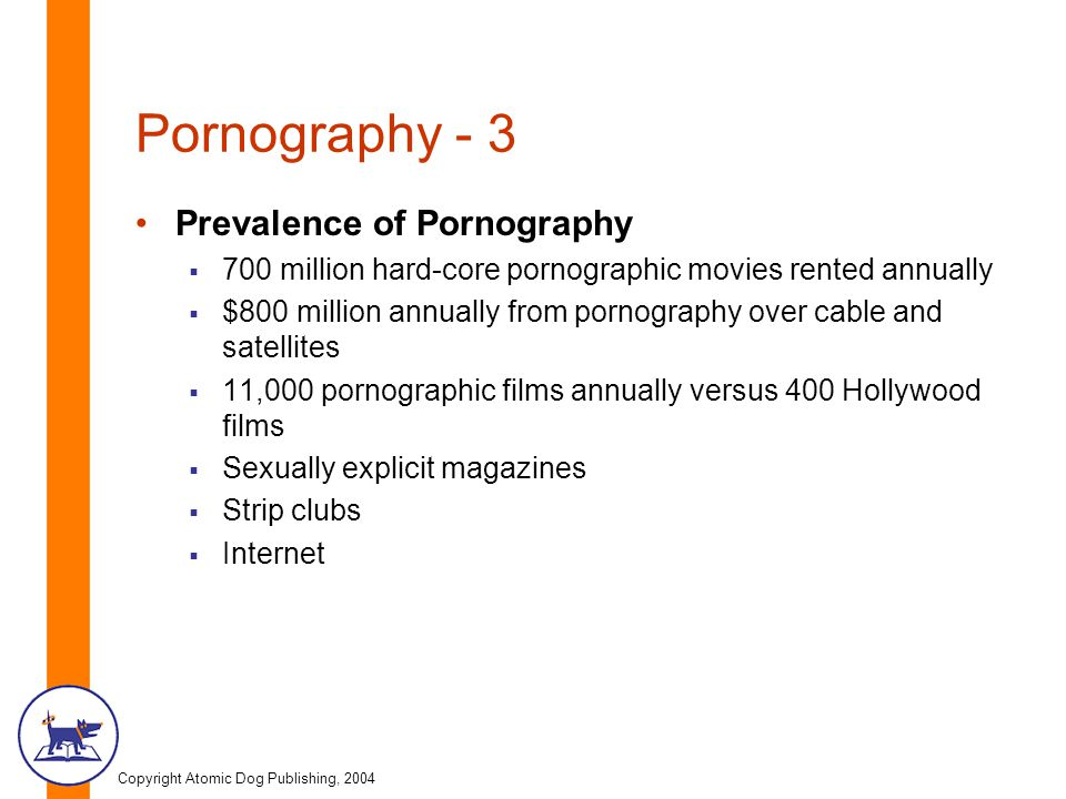 Copyright Atomic Dog Publishing, 2004 Pornography - 3 Prevalence of Pornography  700 million hard-core pornographic movies rented annually  $800 million annually from pornography over cable and satellites  11,000 pornographic films annually versus 400 Hollywood films  Sexually explicit magazines  Strip clubs  Internet