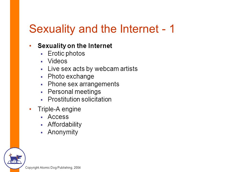 Copyright Atomic Dog Publishing, 2004 Sexuality and the Internet - 1 Sexuality on the Internet  Erotic photos  Videos  Live sex acts by webcam artists  Photo exchange  Phone sex arrangements  Personal meetings  Prostitution solicitation Triple-A engine  Access  Affordability  Anonymity