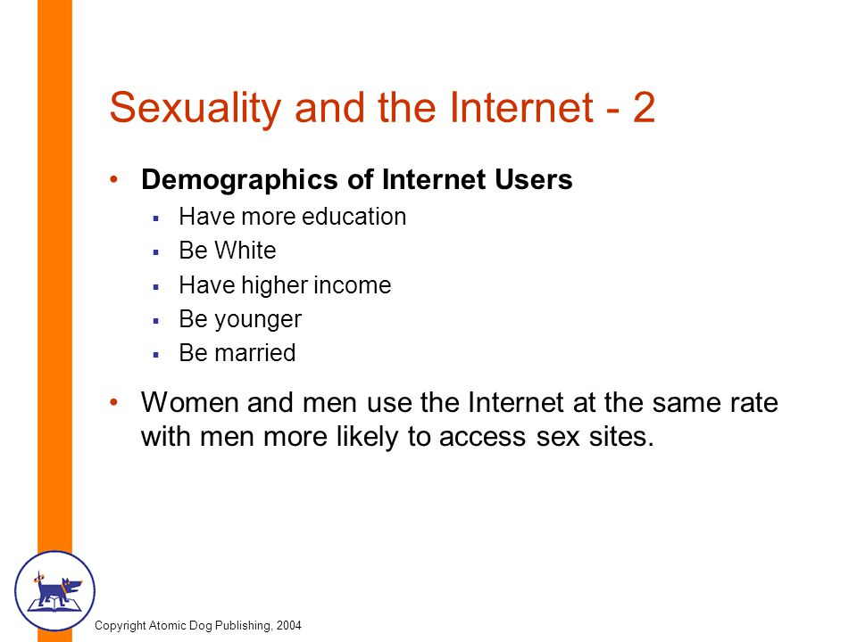 Copyright Atomic Dog Publishing, 2004 Sexuality and the Internet - 2 Demographics of Internet Users  Have more education  Be White  Have higher income  Be younger  Be married Women and men use the Internet at the same rate with men more likely to access sex sites.