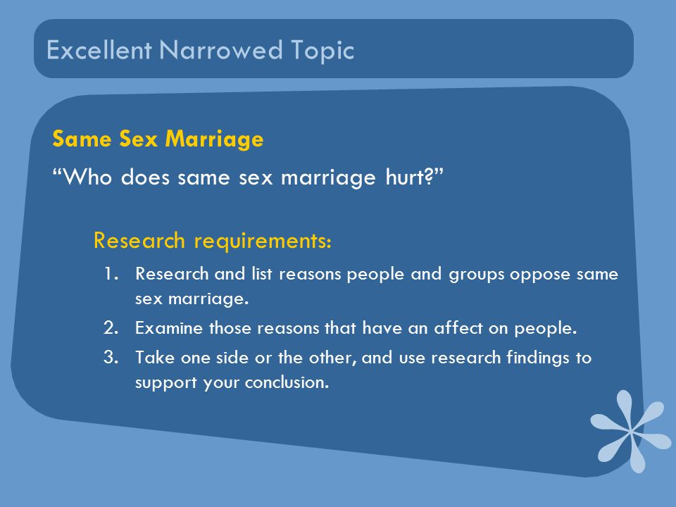 Excellent Narrowed Topic Same Sex Marriage Who does same sex marriage hurt Research requirements: 1.Research and list reasons people and groups oppose same sex marriage.