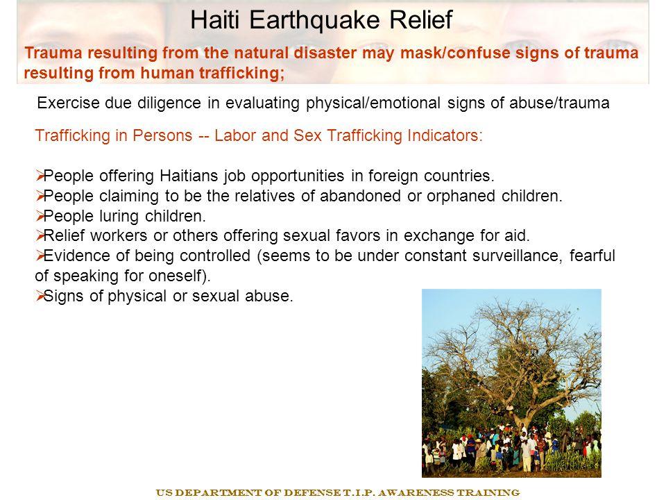 Haiti Earthquake Relief Legal Prohibition on Prostitution On October 14, 2005, President Bush signed E.O.