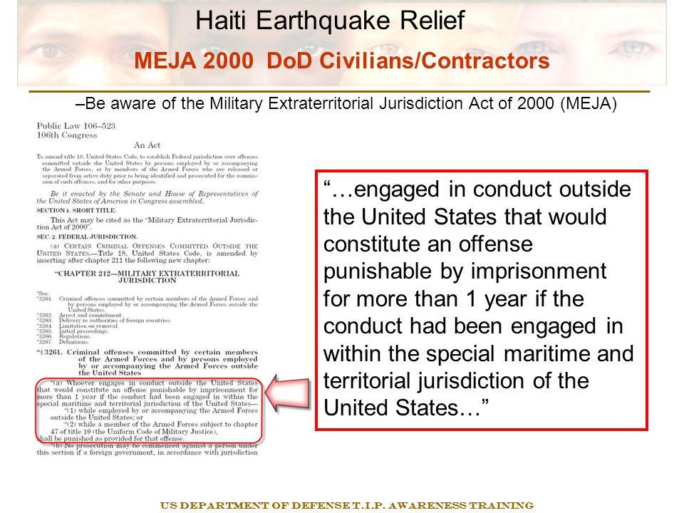 Haiti Earthquake Relief US DEPARTMENT OF DEFENSE T.I.P.