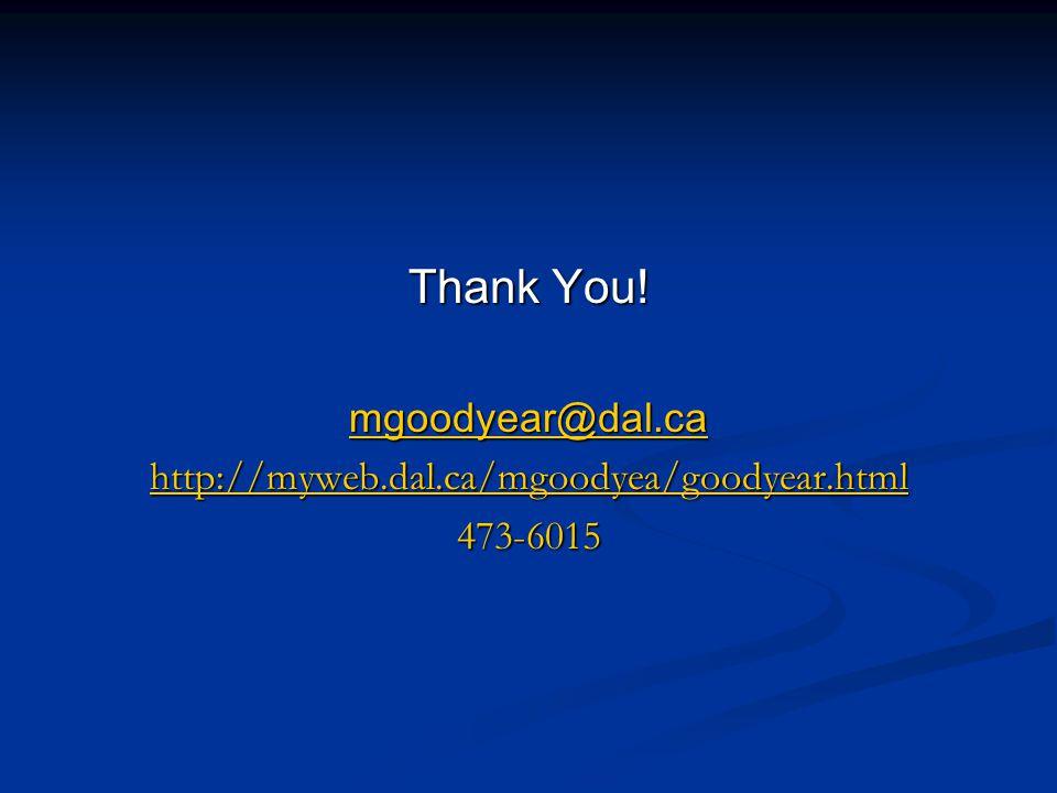 Thank You! mgoodyear@dal.ca http://myweb.dal.ca/mgoodyea/goodyear.html 473-6015