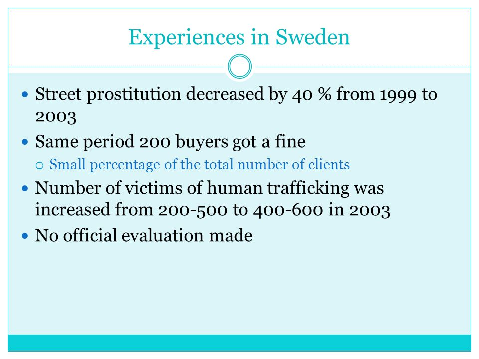 Negative consequences of prostitution Violence against women STDs Exploitation of women Encourages human trafficking