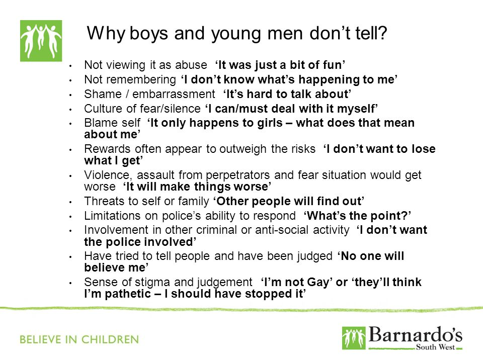Why boys and young men don't tell.