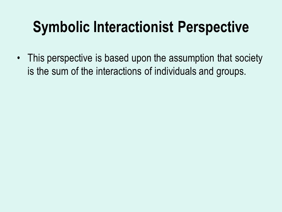Symbolic Interactionist Perspective This perspective is based upon the assumption that society is the sum of the interactions of individuals and groups.